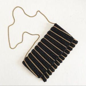 Heavy beaded evening bag clutch gold black